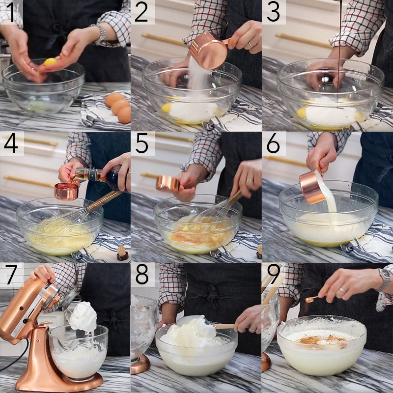 A photo grid showing the steps to make homemade eggnog