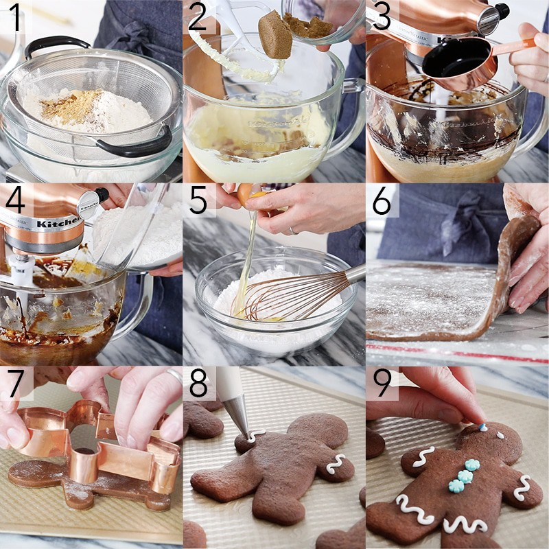 A photo showing steps on how to make gingerbread people.