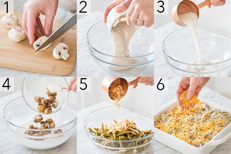 A photo showing steps on how to make a green bean casserole.