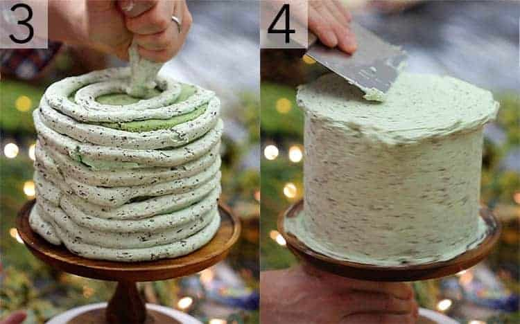 A mint chip cake getting wrapped in buttercream and smoothed.