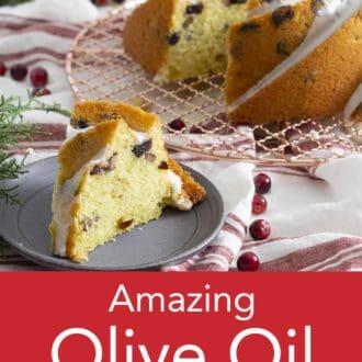 olive oil bundt cake on a wire cooling rack