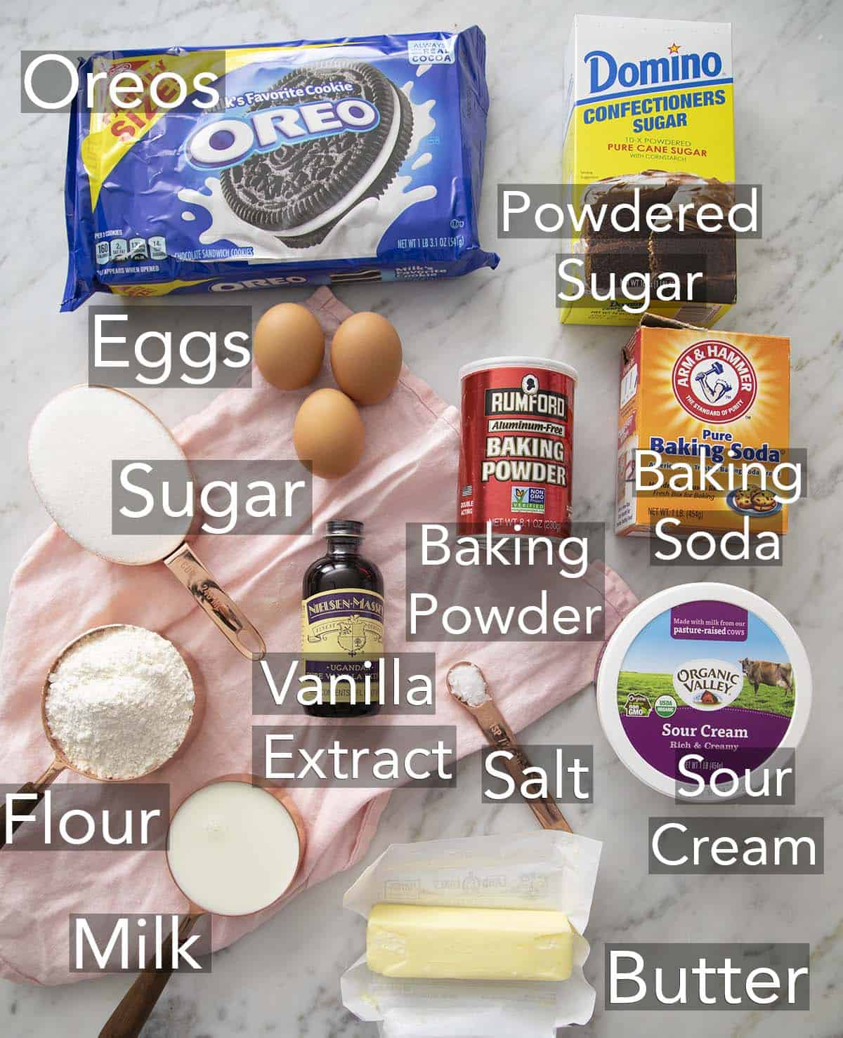 Ingredients for Oreo Cupcakes on a counter.