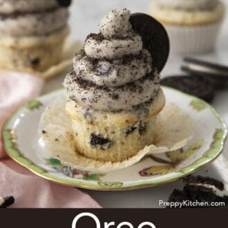 oreo cupcake with oreo frosting on a plate
