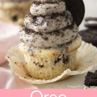 oreo cupcake with oreo frosting on an opened wrapper