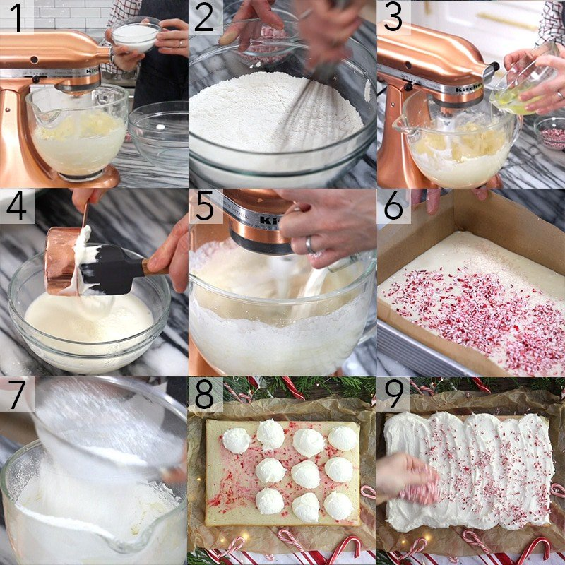 A photo collage showing the steps to make a candy cane sheet cake
