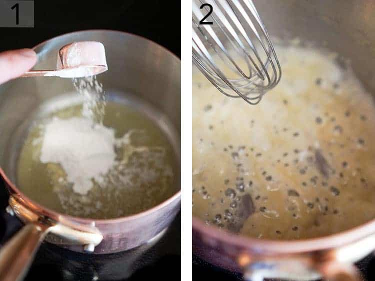 A roux for bread pudding sauce being made in a copper pot