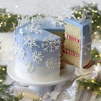 A photo of a blue ombré cake covered in candy melt snowflakes surrounded by evergreen cuttings and Christmas lights