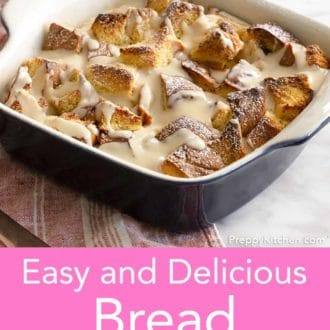 bread pudding in a baking dish