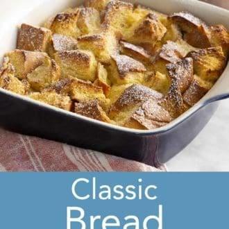bread pudding in a dish