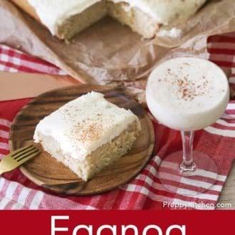 piece of eggnog cake on a plate