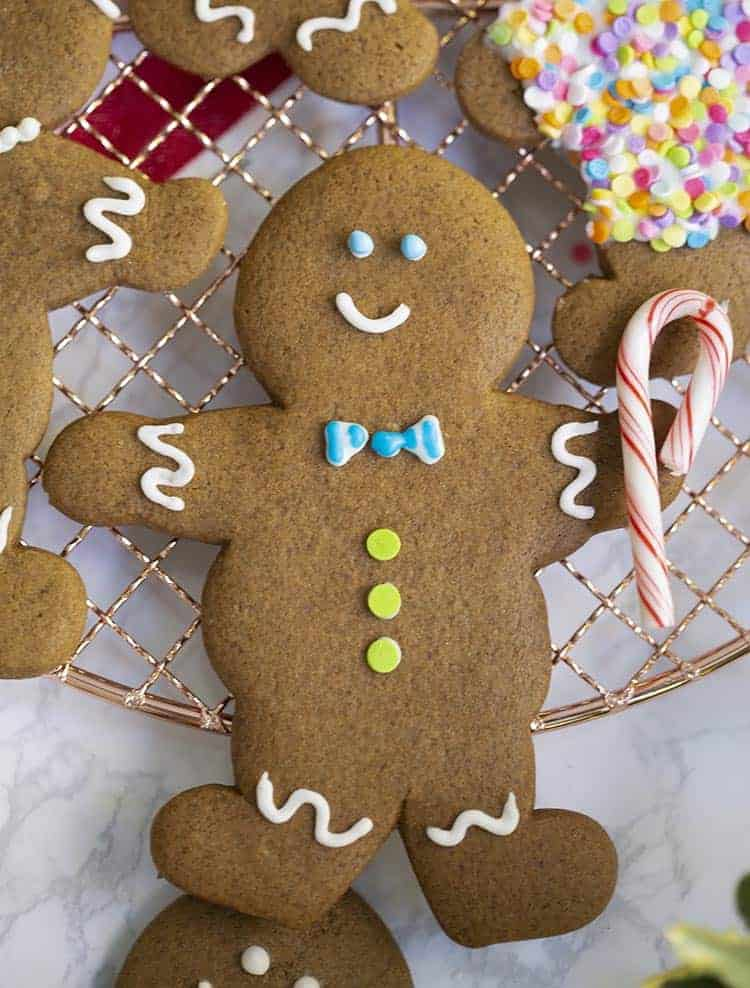 A gingerbread man cookie holding a candy cane.
