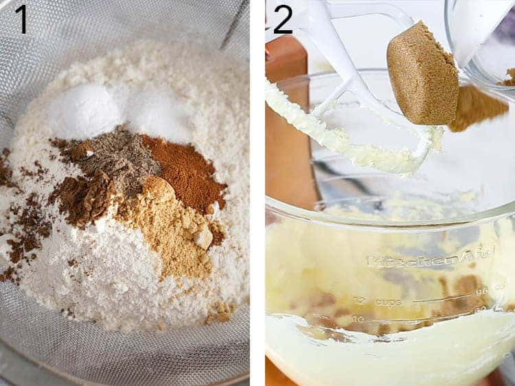 Spices and flour beinf sifted for gingerbread men.