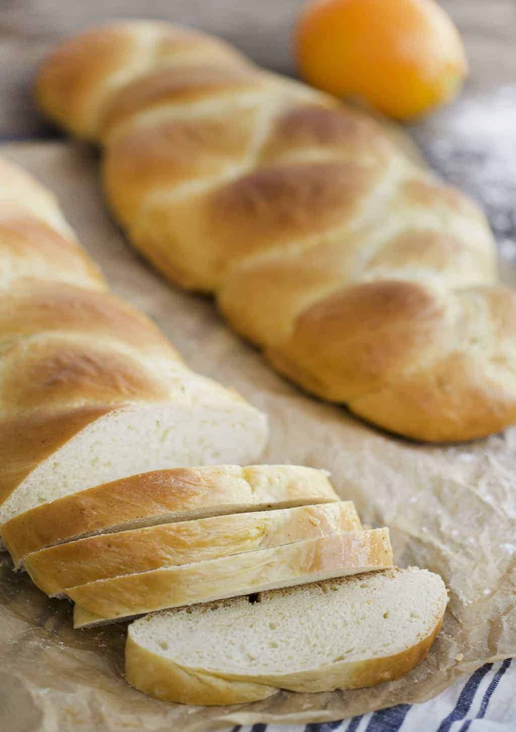 A photo of sliced Tsoureki Greek Braided Bread.
