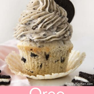 oreo cupcake with oreo frosting on a counter