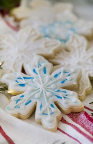 A photo of a snowflake cookie.