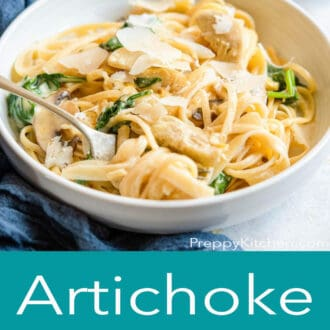 A graphic with a bowl of artichoke pasta on top and artichoke pasta written in text underneath