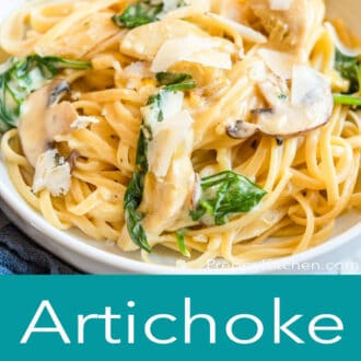 A graphic with a side shot of a bowl of pasta on top and artichoke pasta written in text underneath