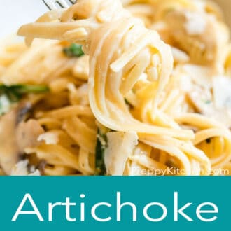 A graphic with a close up of pasta on a fork on top and artichoke pasta written in text underneath
