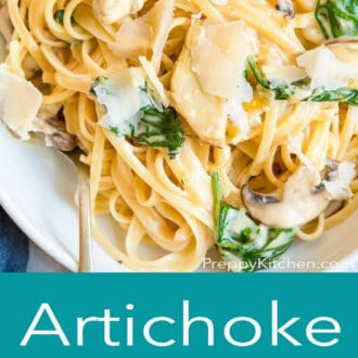 A graphic with a close up of pasta on top and artichoke pasta written in text underneath