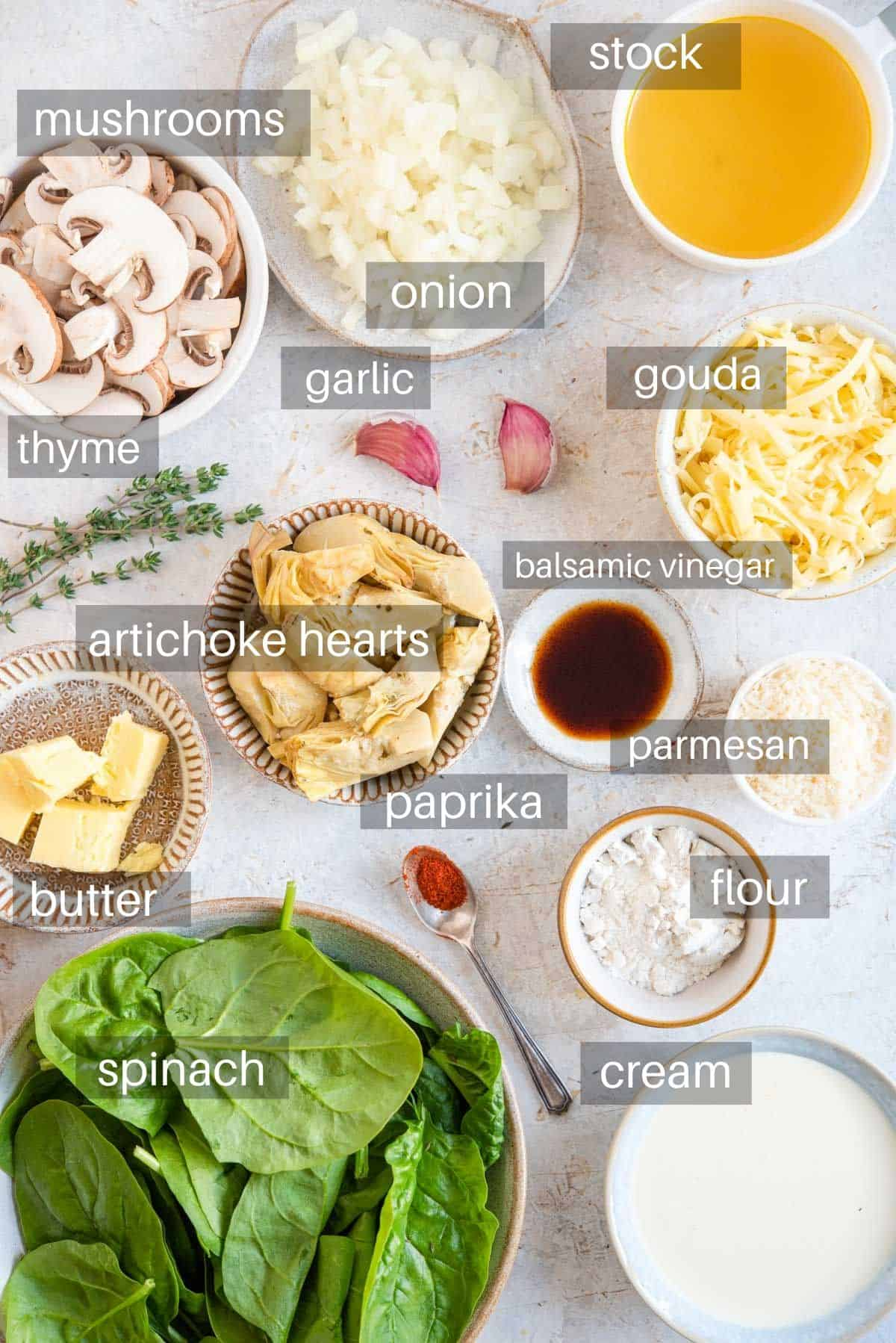 An overhead shot of ingredients you need to make artichoke pasta