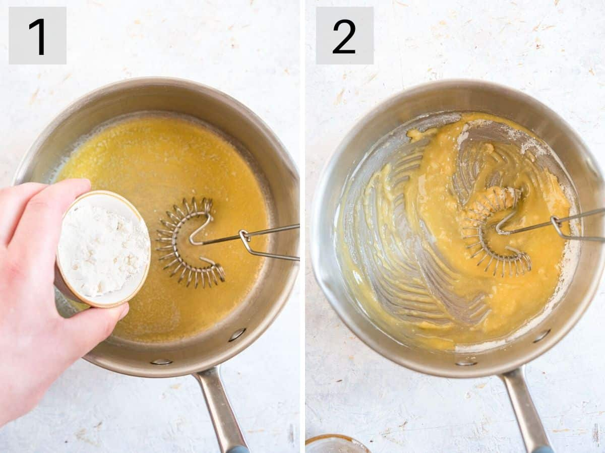 Two photos showing how to make a roux with butter and flour