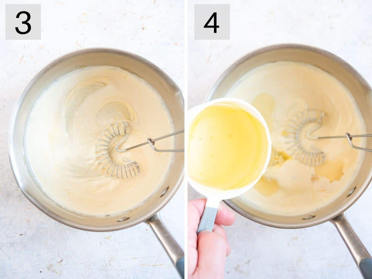 Two photos showing how to add cream and stock to a pan to make a sauce