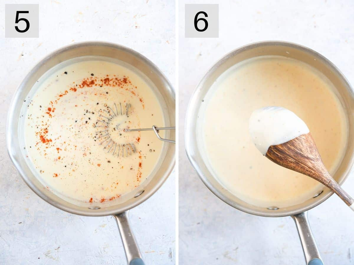 Two photos showing what a cream sauce looks like after cooking