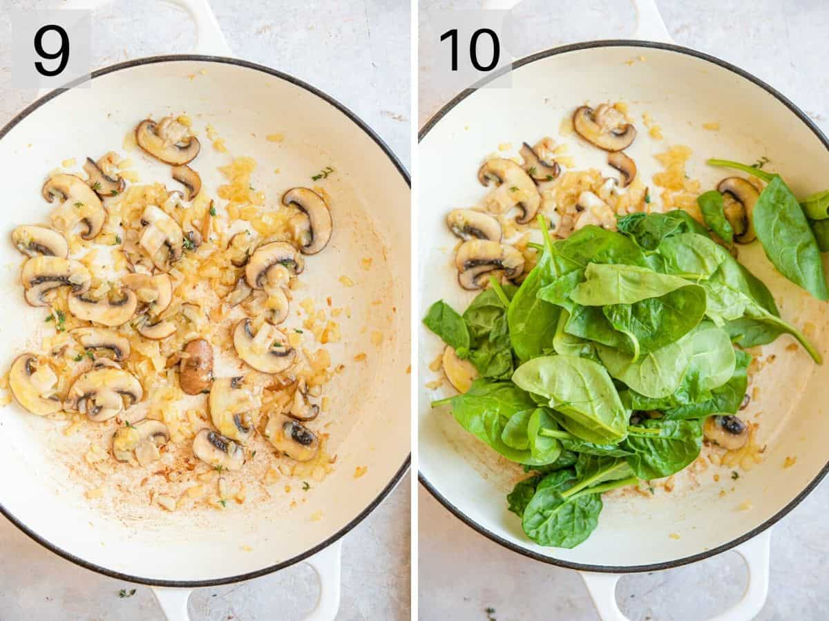 Two photos showing how to saute mushrooms and spinach
