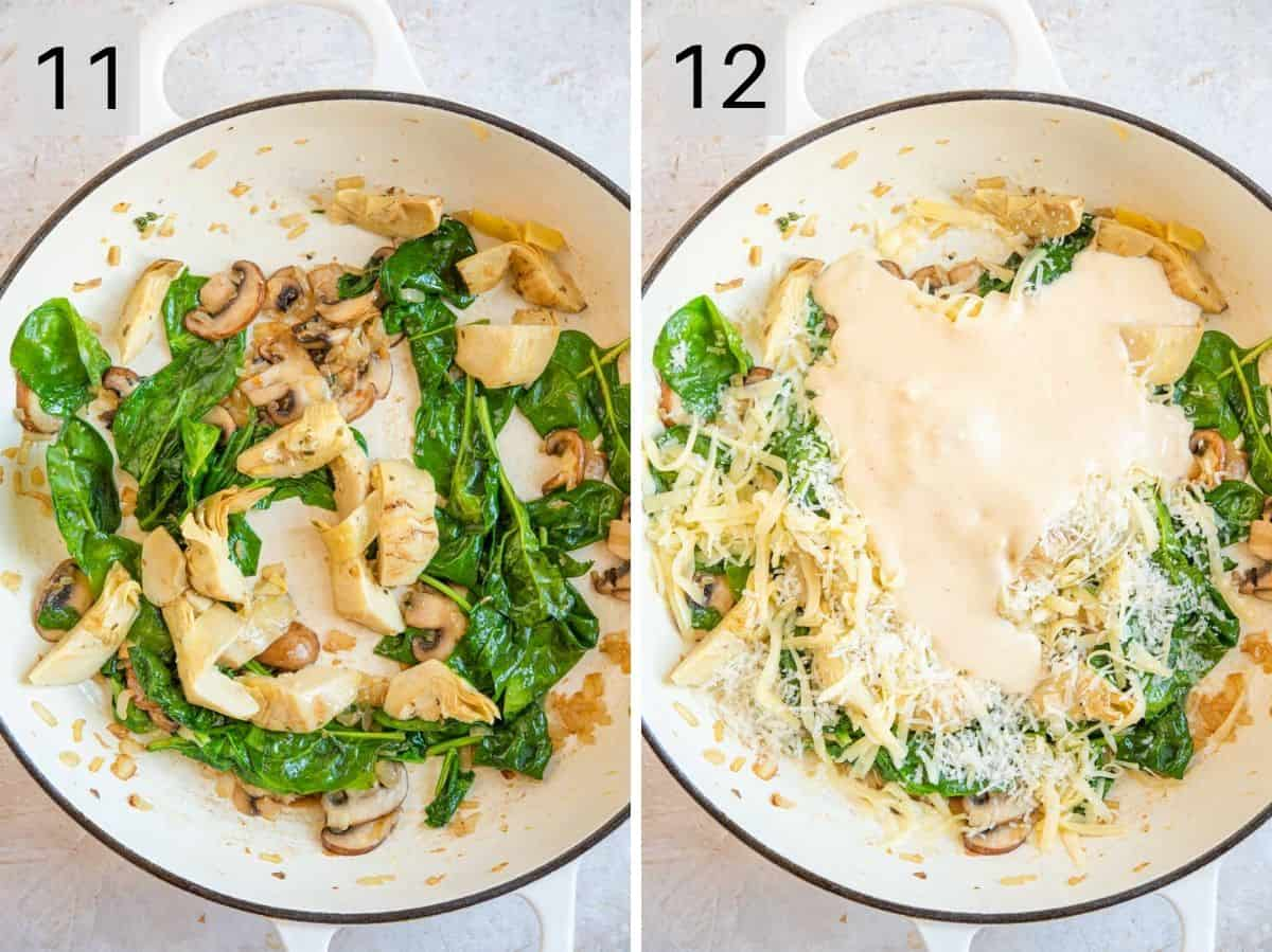 Two photos showing how to saute spinach and make a creamy artichoke sauce