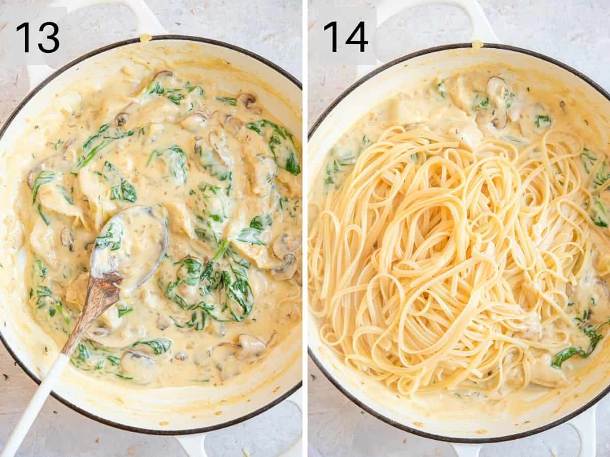 Two photos showing the end result after cooking pasta with a creamy artichoke sauce