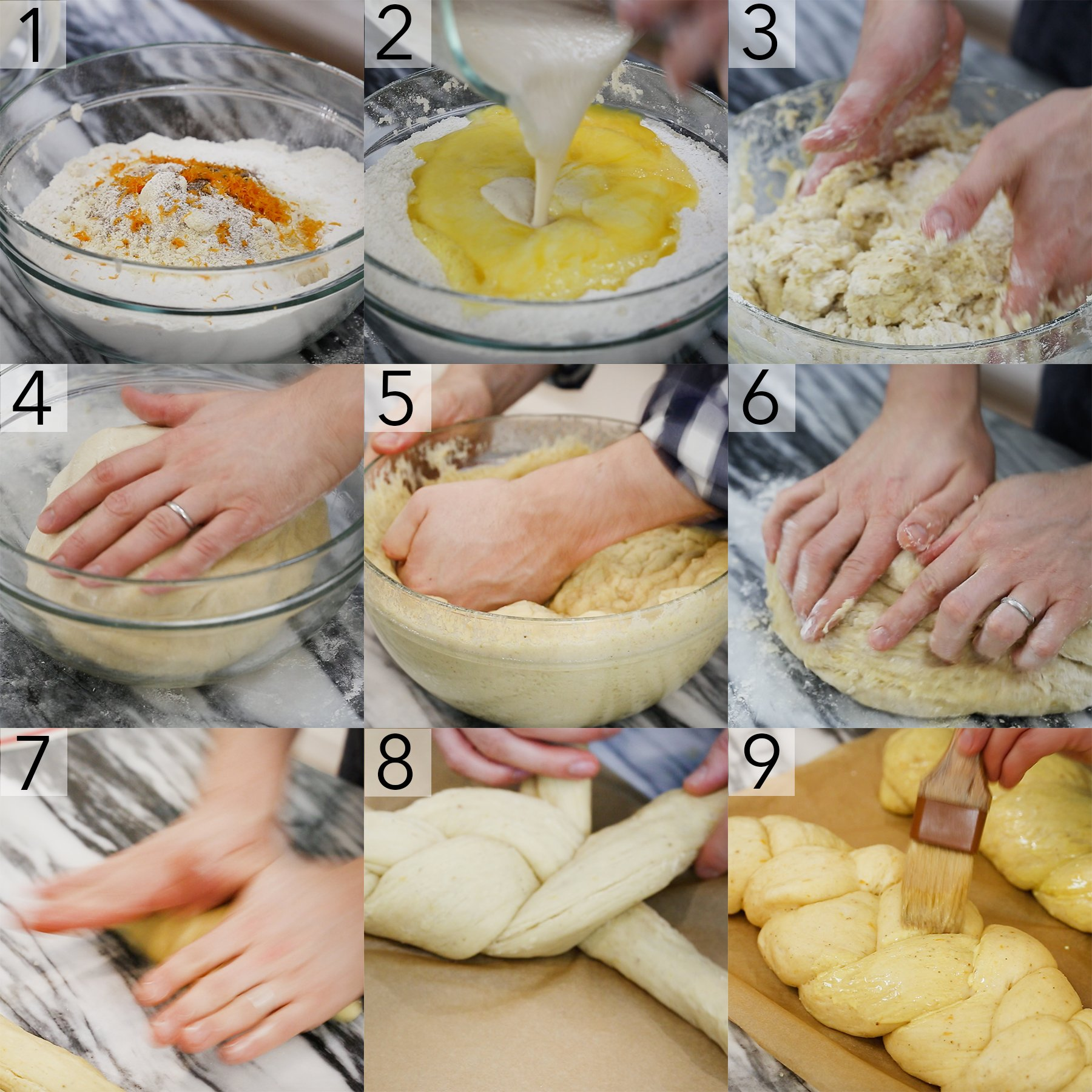 A photo showing steps on how to make greek braided bread.