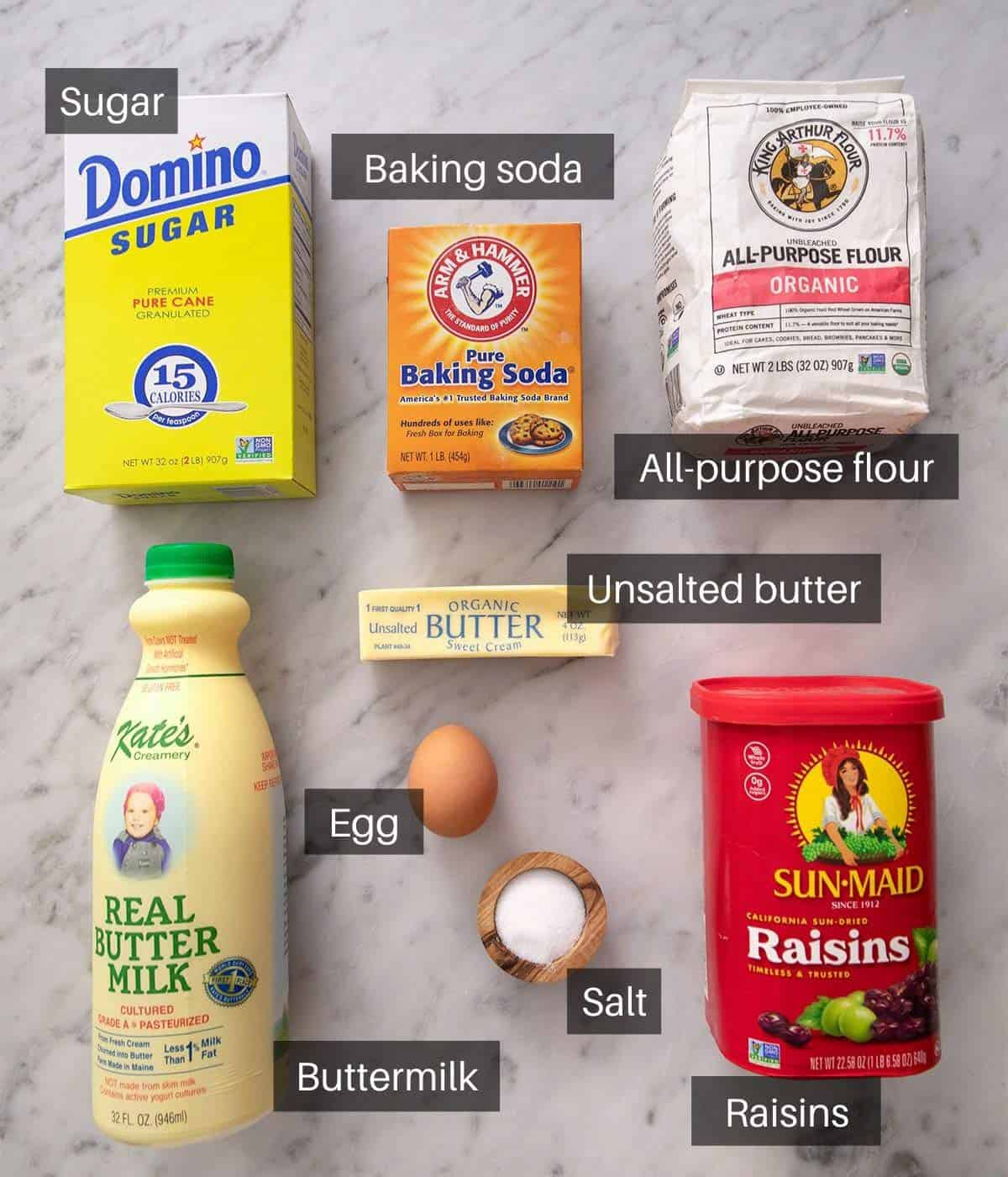 An overhead shot of all the ingredients you need to make Irish soda bread