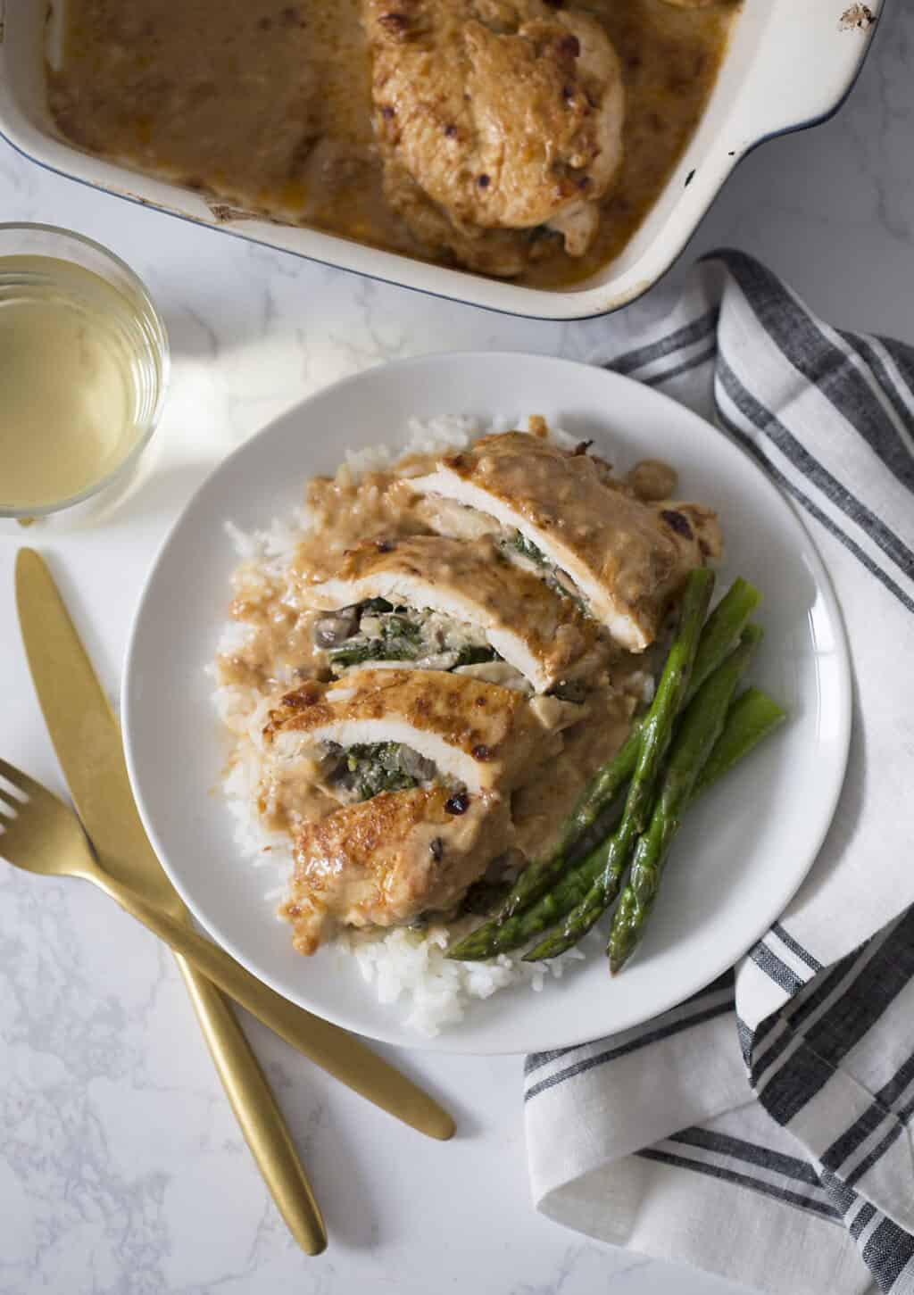 Creamy Spinach Mushroom Stuffed Chicken Breasts