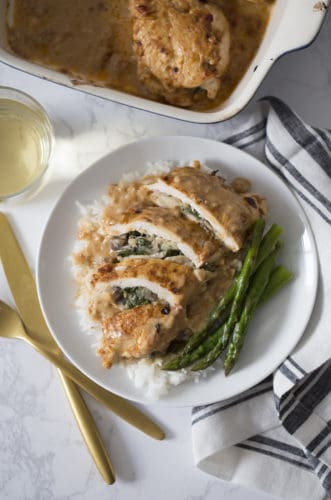 Creamy Spinach and Mushroom Stuffed Chicken Breasts