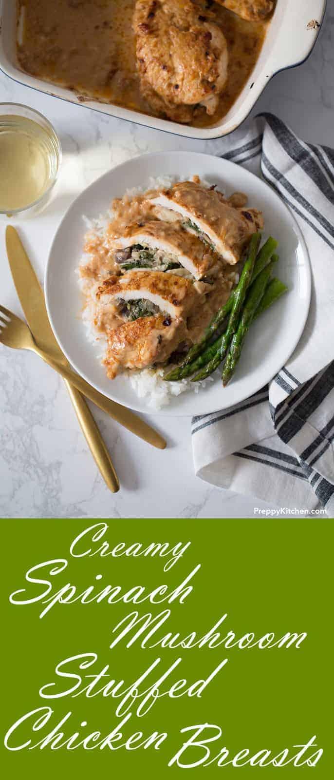 Creamy Spinach Mushroom Stuffed Chicken Breasts