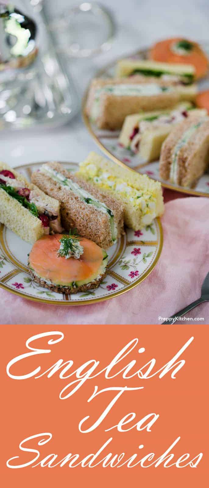 A delicious assortment of traditional English tea sandwiches that will make your heart sing. LOL, well at least you'll really enjoy your afternoon tea! I included my four favorite recipes in this post; classic egg, smoked salmon, cucumber, and chicken with cranberry!