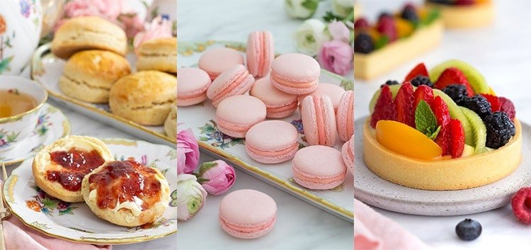A photo collage showing scones, macarons, and a fruit tart