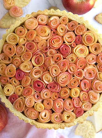 An apple rose pie. Peeled apples rolled up to look like roses and baked into a pie.