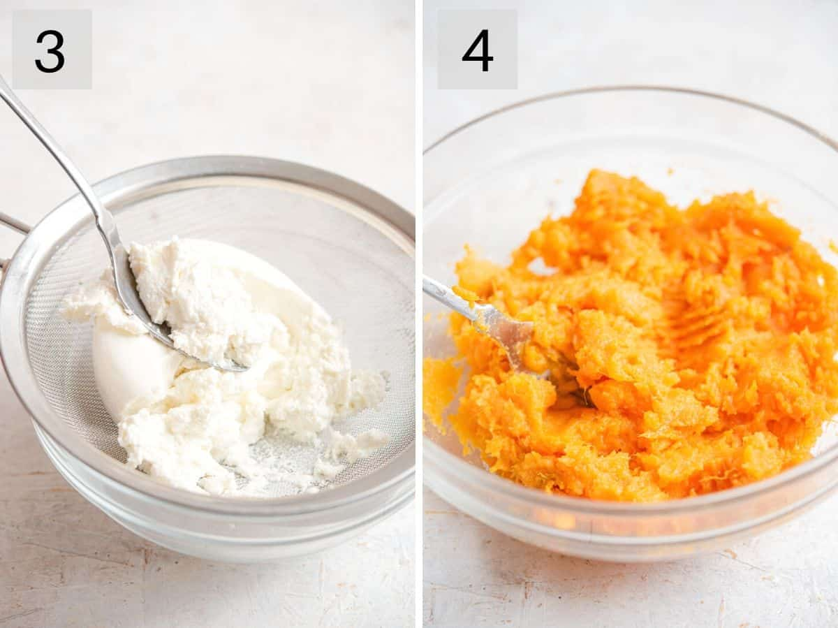 Two photos showing how to drain ricotta and mash sweet potatoes