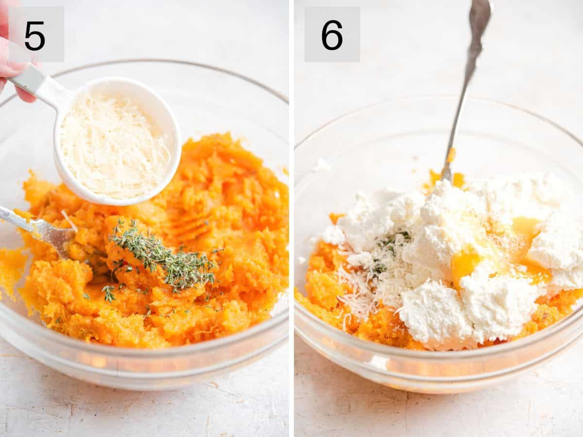 Two photos showing how to make a a sweet potato gnocchi batter