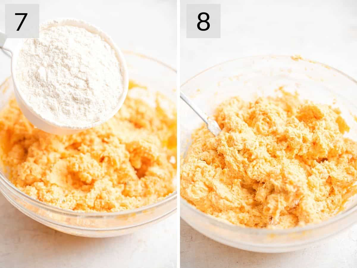 Two photos showing how to add flour to a gnocchi mixture
