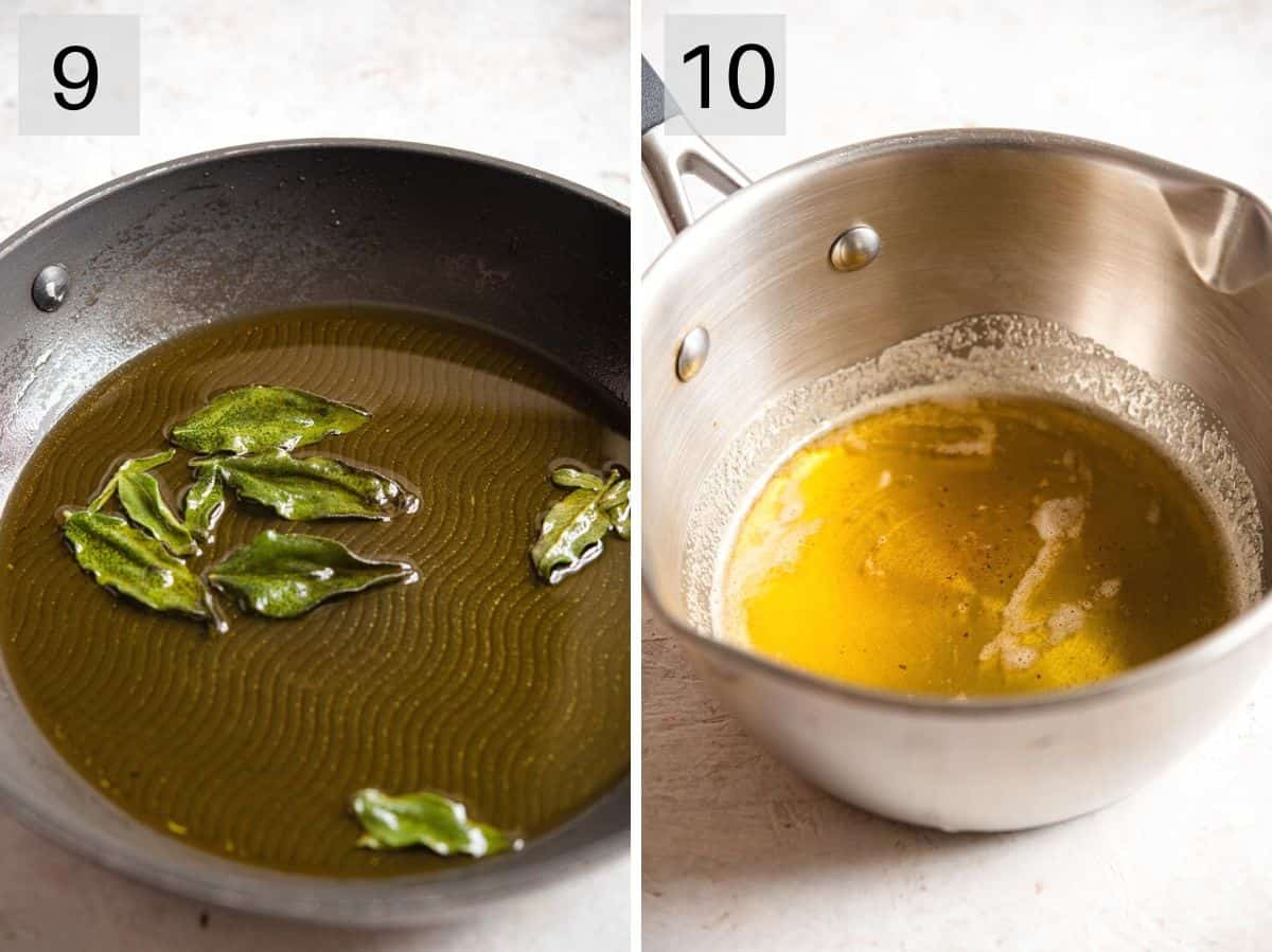 Two photos showing what fried sage and brown butter sauce looks like