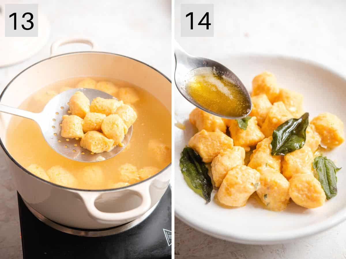 Two photos showing how to drain and toss gnocchi with sauce