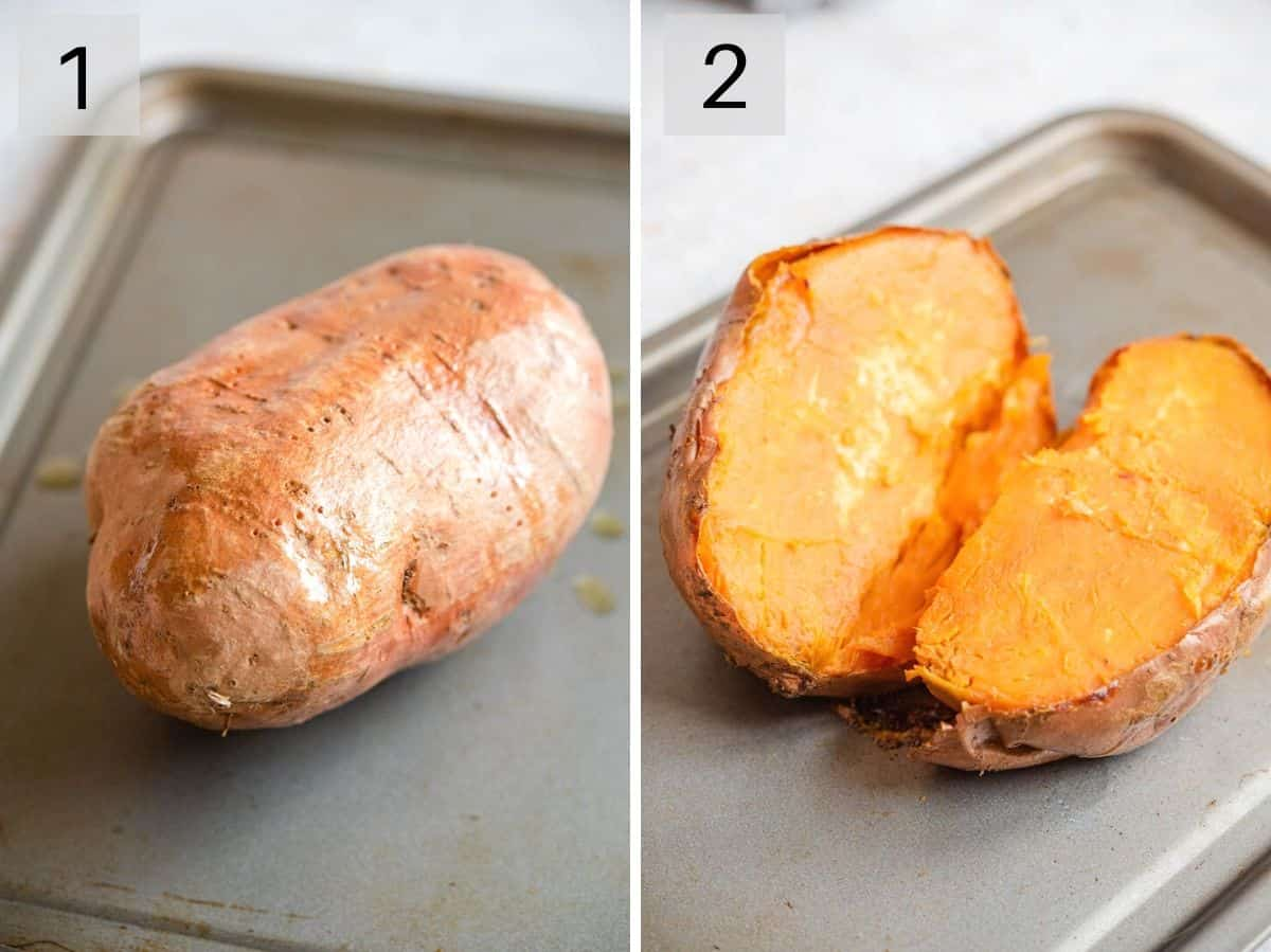 Two photos showing a sweet potato before and after cooking
