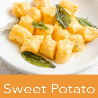 A pinterest graphic of a side shot of sweet potato gnocchi in a bowl