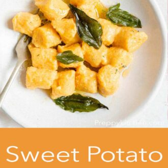 A pinterest graphic of sweet potato gnocchi in a bowl with sage