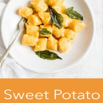 A pinterest graphic of sweet potato gnocchi in a bowl