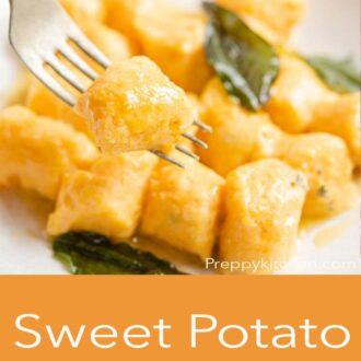 A pinterest graphic of sweet potato gnocchi on a fork