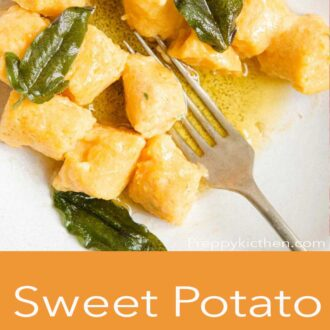 A pinterest graphic of sweet potato gnocchi with butter and sage