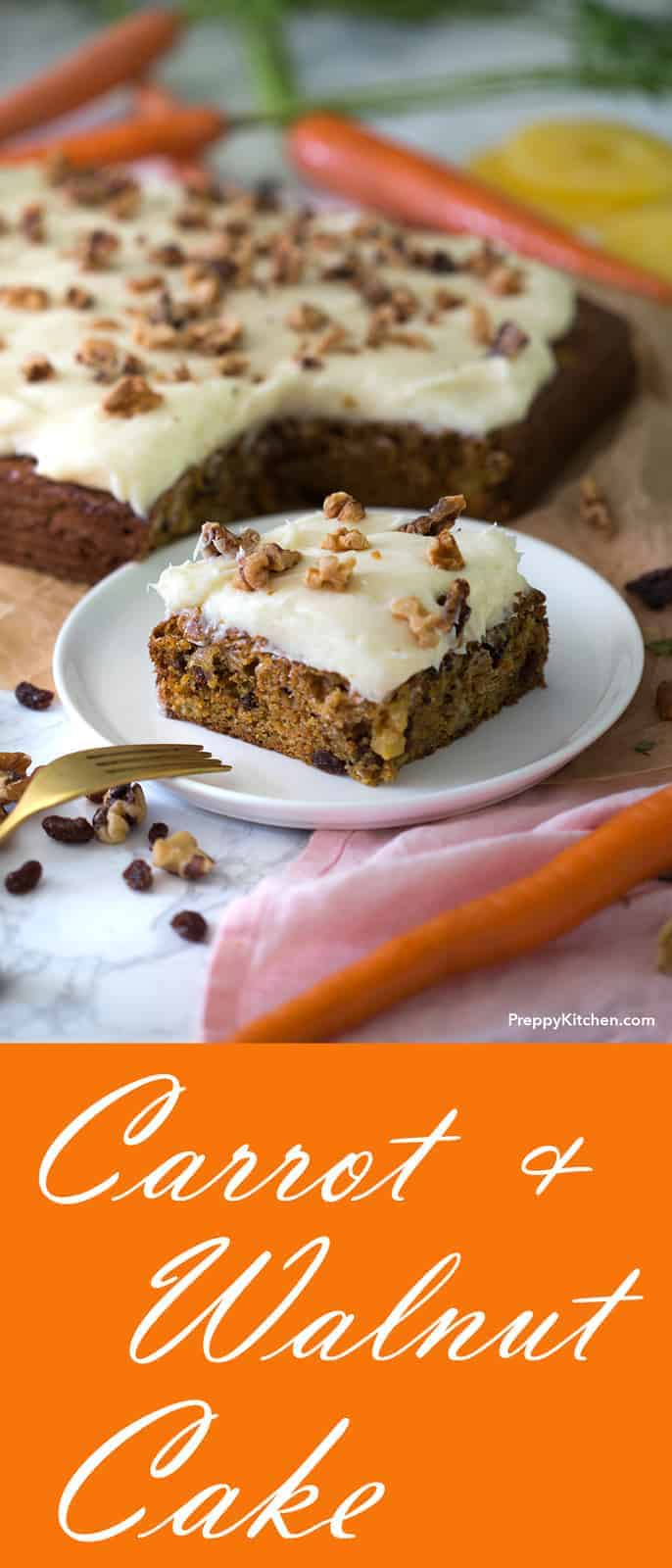 A moist and delicious carrot sheet cake topped with amazing cream cheese frosting. Adding my favorite spices to the batter really took this cake up a notch!